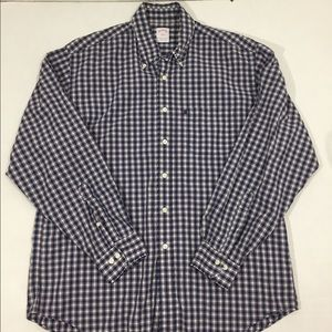 Brooks Brothers Large Blue Plaid Button Front